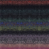 knitted swatch for eyelet scarf knitting kit with soft blended stripe effects in pinks tans blacks grey greens