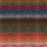 knitted swatch in blended striped colors of muted tangerine browns, denim blue and moss green