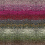 noro tsubame knitted swatch showing soft stripes of light pink, bright pink, red, grey, green and brown