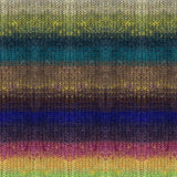 knitted swatch of noro tsubame self striping yarn, showing horizontal stripes of light green blues, yellow, purple , blue  pink and yellow