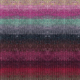 Knitted Swatch of Noro's Tsubame yarn in colorway Tokamachi #10. It features horizontal stripes of yellow, light pink, bright pink, seafoam green, grey, dark stormy blue, russet, mauve , purple grape, fuchsia, and taoupe