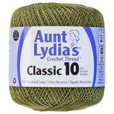 one ball of aunt lydias crochet thread size 10 in medium olive green colorway