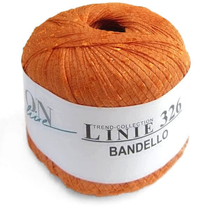 image of a ball of bright kelly green bandello linie. it's a flat ribbon yarn with super shiny horizontal railroad style crossings