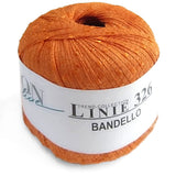 image of a vibrant tangerine peachy colored ball of flat ribbon yarn the label reads 'linie 326 bandello' the flat ribbon yarn is features regular cross crosses of super shiny silk thread
