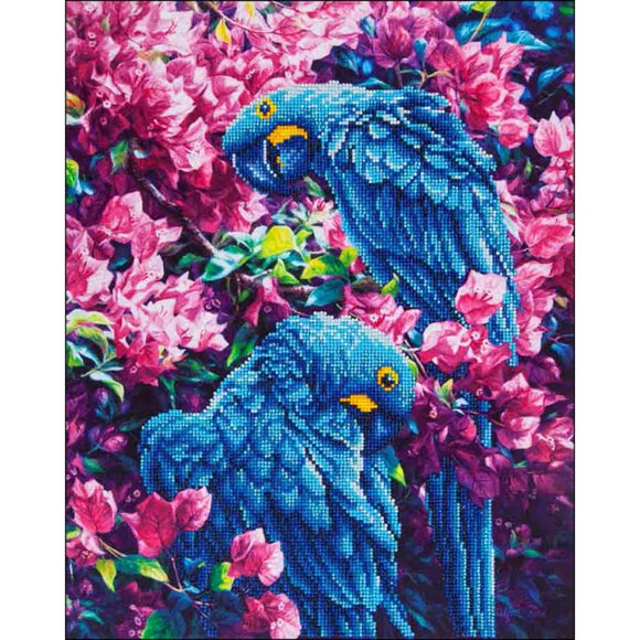 diamond dotz sparkly blue parrots home décor