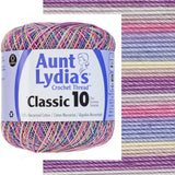 one ball of aunt lydias crochet thread size 10 in self striping colors of pastels light grey, pink, baby blue, cream, and lavender perfect for baby girl projects