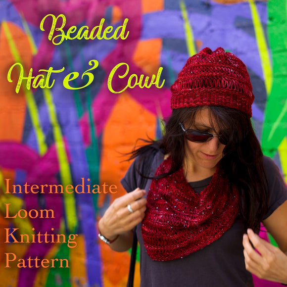 loom knitting pattern for hat and cowl