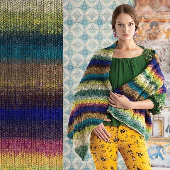 Composite image on the right a standing woman wearing a very bright and colorful striped lace knit shawl wrapped around her shoulders.On the left a knitted swatch of Noro's Tusbame Yarn in Wakkania # 6 colorway is a rainbow of sriped colors includings tan, lime green, dark teal, medium teal, light brown, spots of yellow, purple, birght blue, rose pink, bright yellow and lime green