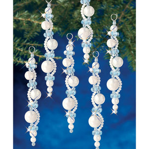 Christmas Ornament Kit, White & Blue Pearl Icicle #7446