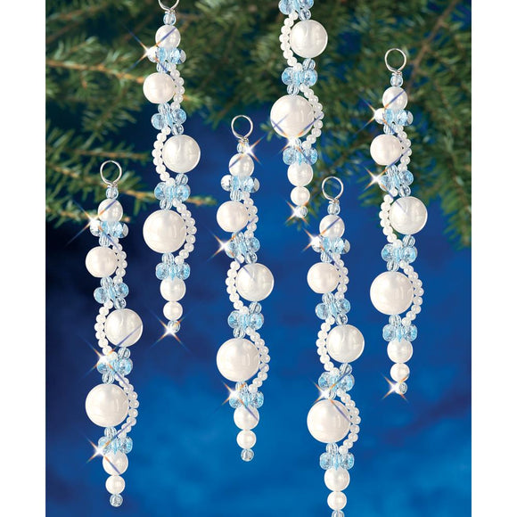 sparkly beaded icicles christmas tree ornament