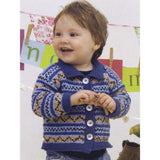 picker button up cardigan knitting pattern from louisa hardings enchanted garden book. a little boy is wearing a fair isle striped cardigan in colors of bright blue, tan, black and white with blue trim and large white buttons