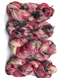 indie dyer pink grey yarn worsted glitter