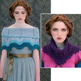 composite image of portia the knittes stole in shades of light blue worn around the shoulders, or worn as a cowl up around the neck and folded with the lace pattern extending out over the collarbone. From the Louisa Harding Nerissa #115 Pattern Book