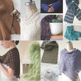 image showing projects from luxury yarn one-skein wonders by judith duran with a white lace scarf, cabled fingerless mitts, beaded laces socks, knitted lace shawl soft angora light green lace scarf, lace lilac shawl, ring bearer pillow in white