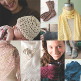 image showing knitted projects from luxury yarn one-skein wonders by judith duran including a white lace baby hat, ribbed simple socks, yellow lace scarf, warm winter gloves, pink lace work shawl