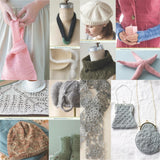 image showing projects from luxury yarn one-skein wonders by judith duran with a pink pursh white angora beret knittiing pattern, simple wooly necklace, arm warmers, pink starfish decoration, forest green soft cowl, grey lace antique coin purses, cute baby elephant hat, lace shawl, lace baby hat, dinosaur feet socks
