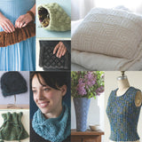 image showing projects from luxury yarn one-skein wonders by judith duran with a l=pleated clutch, potpurrie pouch, feather pattern pillow, ribbed vest, lace flower vase cover, lightweight lace cowl in blue fuzzy angora lamp shade