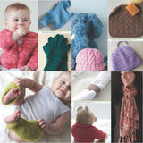 image showing projects from luxury yarn one-skein wonders by judith duran with a lace baby cardigan, tiny newborn jumper in blue, small pink cabled baby hat, simple dishcloth scrubby, a napkin ring, and mini baby legwarmers, a teddy bear sweater, and an elegant lace scarf with tassels
