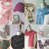image showing projects from luxury yarn one-skein wonders by judith duran showing a pink lace and cables scarf, a lace brimmed cap, small felted satchel with adjustable straps, warm wooly mitts, lace pattern loose cowl, cabled baby earflap hat