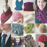 image showing knitted projects from luxury yarn one-skein wonders by judith duran including a moss stitch button up cowl in berry reds, a teal scarf, burgundy beanie womens purple lace scarf, mens blue knitted tie, womens purple ankle socks, boys tan button up vest, womens flower bud hat in red