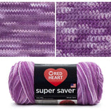 red heart super saver variegated yarn purple tones