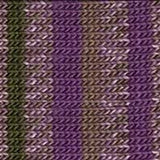 knitted swatch featuring stripes of purple and speckled purple with the occasional stripe os green and tan