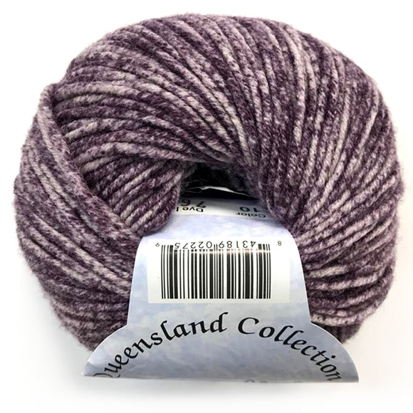 one ball of queensland collection merino spray speckled yarn,  about 50/50 white and really dark purple.