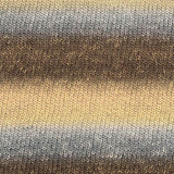 knitted swatch of queensland collection uluru rainbow with horizontal stripes of brown beige and grey
