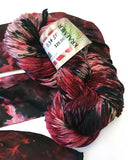 indie dyer red black grey grunge goth yarn worsted yarn