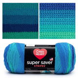composite image of super saver cool stripe showing the skein, knitted swatch and crochet swatch. the swatched transition from dark to light blue to sea green blue the knitted swatch has clear delineated stripes while the crocheted swatch has softer color changes