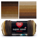 image of super saver self striping yarn in shades of brown transitioning from dark brown through to light brown. image shows teh skein, a knitted swatch and a crocheted swatch