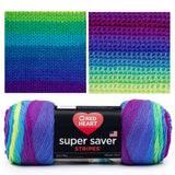 super saver stripes skein showing purple violet and flourescent green. knitted and crocheted swatch demonstrating how the stripes show up in bands of lime green, grass green, teal, medium blue, dark blue, and purple