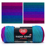 image of super saver stripes skein which shows mostly blue with pops of fuchsia and cobalt blue. At the top of the image it shows a knitted swatch and crocheted swatch showing stripes of fuchsia, purple, violet, medium blue, and teal blue