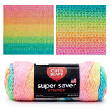 image of red heart super saver stripes skein with knitted and crocheted swatches. the colors are beautiful pastel baby colors striping in medium pink, peach, orange, yellow, lime green, blue