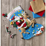 diy felt stockings santa on hie reingdeer