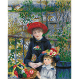 image of renoir's two sisters on the terrace recreated in diamond dotz, where everything but the face and hands are covered in sparkly faceted diamonds. a young woman in her late teens sits with a young girl of 3 or four both are wearing large wide brimmed hats and to woman has a basket of vegetables on her lap. in the background appears a river with trees and houses on the far bank
