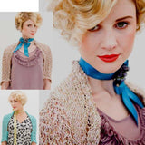 Salsa Bolero  knitting pattern from louisa harding's deco pattern book #20. It's a  lace knit bolero with a sturdy collar and lace to the elbows