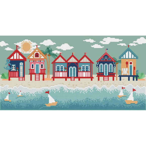 graphic design image of colorful beach huts with blue sky and white clouds, in the foreground is blue and white water with little sailboats bobbing around the image is made up of thousands of shimmering diamonds that sparkle in the light
