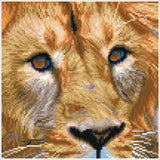 pixelated image of close up of a lions face, indicating where each color of diamond dotz goes