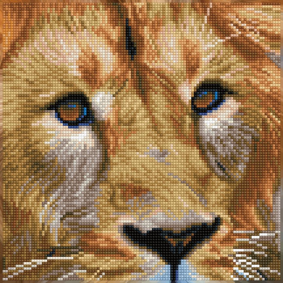 close up of a lions face with his mouth closed he almost looks sad. his face is made up of 11,000 tiny faceted gems that create dimension and sparkle