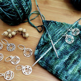 knitters pride the mindful collection chakra design stitch markers with 7 chakra symbols