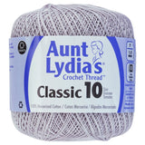 one ball of aunt lydias crochet thread size 10 in silver light grey colorway