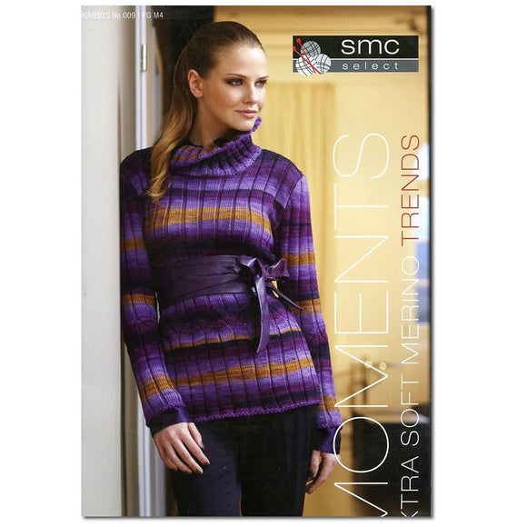 cover of sms select moments standing woman wearing purple and gold striped ribbed sweater with turtleneck