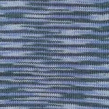 image of mirasol khusku sock yarn in colorway #01 Rio Amazonas. the swathc shows how the dark blue and light blue create a zig zagging pattern up the swatch