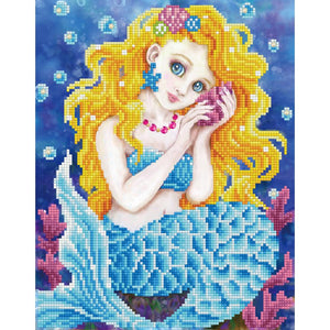 cute mermaid girl artwork with giant eyes listens to a shell underwater. the mermais is made up of thousands of shimmering embroidered diamonds