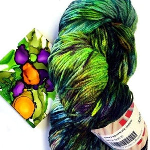 green and gold hand dyed speckled sock yarn