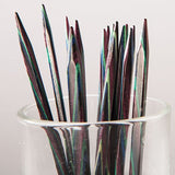 blue purple dyed birch wood knitting needle tips knit picks