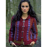 stewart collared jacket with vertical stripes of burgundy, purple lace, and russet knitting pattern from Louisa Harding's Wildspur Knitting Patterns book