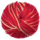 ball of feza's eva super bulky chainette yarn  in tones of bright red burgindy with an edging of tan and metallic fibers