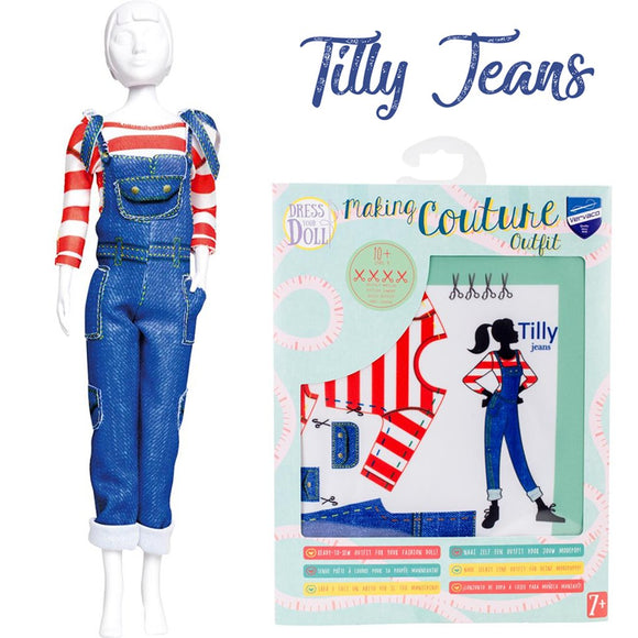 kids sewing kit for barbie outfits jeans overalls aged 10 and up